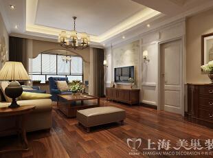 蓝堡湾139平三室两厅美式乡村风格装修方案——客厅装修效果图,139平,8万,美式,三居,客厅,原木色,黄白,