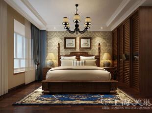 蓝堡湾139平三室两厅美式乡村风格装修案例——卧室装修效果图,139平,8万,美式,三居,卧室,原木色,黄白,