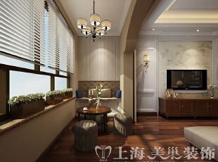 郑州蓝堡湾139平三室两厅美式乡村风格装修效果图——休闲区装修效果图,139平,8万,美式,三居,客厅,原木色,白色,