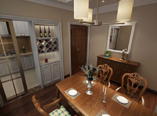 蓝堡湾139平3室2厅美式乡村风格装修样板间——餐厅装修效果图,139平,8万,美式,三居,餐厅,原木色,白色,