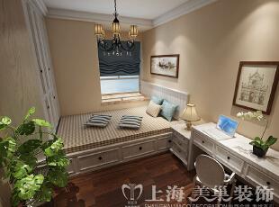 蓝堡湾139平三室两厅美式乡村风格装修方案——次卧装修效果图,139平,8万,美式,三居,卧室,浅棕色,白色,