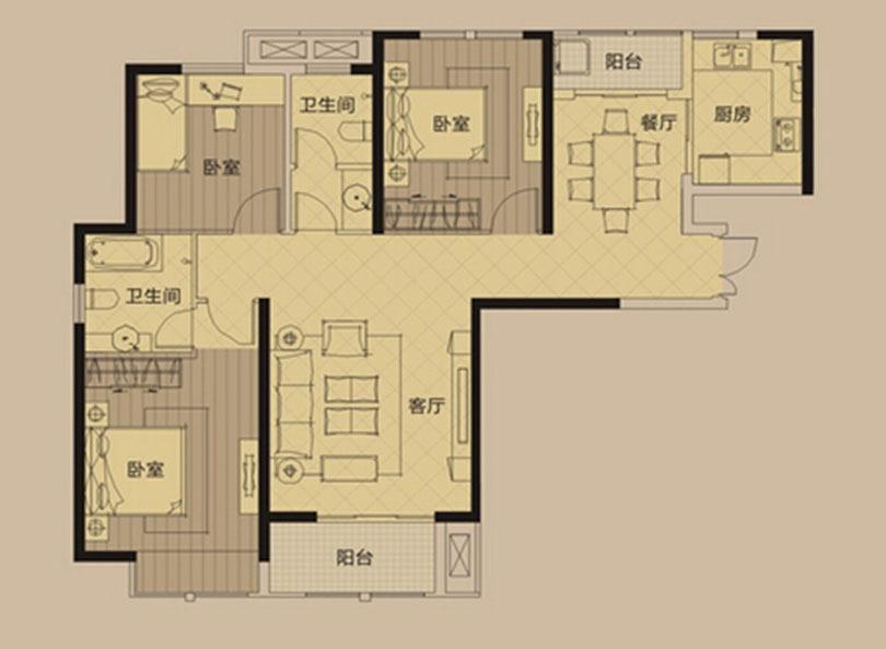 蓝堡湾139平三室两厅美式乡村风格装修户型图