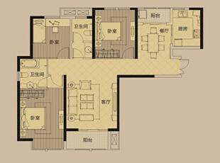蓝堡湾139平三室两厅美式乡村风格装修户型图,139平,8万,美式,三居,