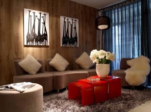 ,96平,15万,现代,三居,客厅,原木色,红色,