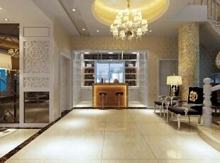 【南昌实创整体家装】欧式风格吧台、设计效果图,204平,30万,欧式,三居,餐厅,客厅,金黄色,