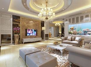 【南昌实创整体家装】欧式风格客厅设计效果图,204平,30万,欧式,三居,客厅,金黄色,