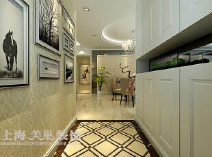黄金海岸139平3室2厅简欧风格风格装修方案——廊厅装修效果图,139平,11万,欧式,三居,走道,白色,