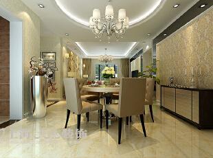 黄金海岸139平三室两厅简欧风格风格装修效果图——餐厅装修效果图,139平,11万,欧式,三居,餐厅,黄色,白色,黑色,