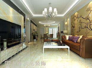 黄金海岸139平三室两厅简欧风格风格装修方案——客厅装修效果图,139平,11万,欧式,三居,客厅,黄色,白色,
