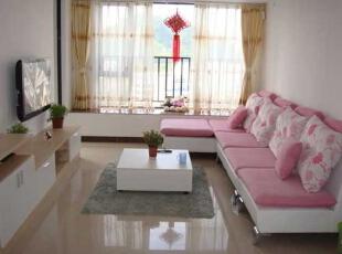 ,88平,10万,清新,两居,客厅,白色,粉红色,