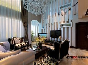 长河湾复式--客厅装修,100平,10万,现代,复式,客厅,白色,黑白,