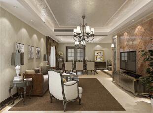 ,189平,9万,欧式,三居,客厅,棕色,白色,