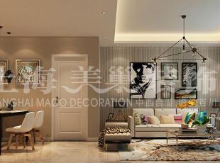 怡丰森林湖89平两室两厅现代简约装修案例效果图,餐厅的处理就简单的多了,两面米黄色的墙体本身是显的过于单调,但加上了艺术感强烈的装饰画作为点缀,同时再连接着那一把把时尚风强烈的餐椅,使得成为了整体空间的一大亮点。,89平,787万,简约,两居,餐厅,客厅,