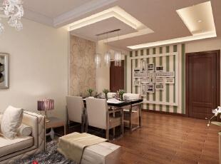 餐厅位置在沙发背景墙的延伸线上,餐桌处加用壁纸,就把餐桌从沙发背景墙又单独分离出来,成为一个单独的空间区域,,127平,8万,现代,三居,