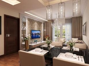 业主是中年夫妇,对于壁纸颜色的选择比较稳重,茶色玻璃镜也比较容易接受。,127平,8万,现代,三居,