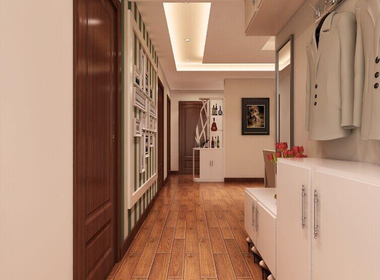 入户门直接对着次卧门,所以在走廊尽头,卫生间干区处做了博古架,起到图片