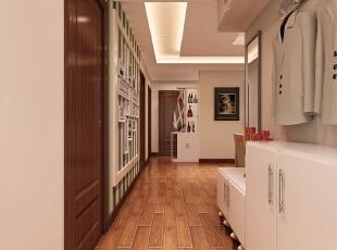入户门直接对着次卧门,所以在走廊尽头,卫生间干区处做了博古架,起到遮挡视线的作用。,127平,8万,现代,三居,