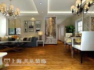 升龙城89平三室两厅简欧风格装修效果图——客餐厅装修效果图,89平,6万,欧式,三居,客厅,黄白,