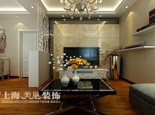 升龙城89平3室2厅简欧风格装修方案——电视背景墙装修效果图,89平,6万,欧式,三居,客厅,黄白,