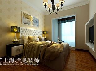 升龙城89平三室两厅简欧风格装修效果图——卧室装修效果图,89平,6万,欧式,三居,卧室,黄白,