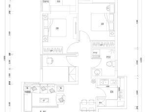 升龙城89平三室两厅简欧风格装修户型图,89平,6万,欧式,三居,