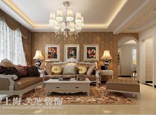 锦艺国际华都122平三室两厅简欧风格装修方案——客厅装修效果图,122平,9万,欧式,三居,客厅,棕色,白色,