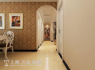 郑州锦艺国际华都122平三室两厅简欧风格装修案例——廊厅装修效果图,122平,9万,欧式,三居,客厅,棕色,白色,