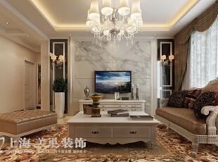 锦艺国际华都122平3室2厅简欧风格装修样板间——电视背景墙装修效果图,122平,9万,欧式,三居,客厅,棕色,白色,