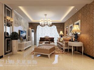 锦艺国际华都122平三室两厅简欧风格装修方案——沙发背景墙装修效果图,122平,9万,欧式,三居,客厅,棕色,白色,