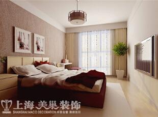 农大家属院装修新中式三室两厅卧室效果图,140平,8万,中式,三居,卧室,浅黄色,