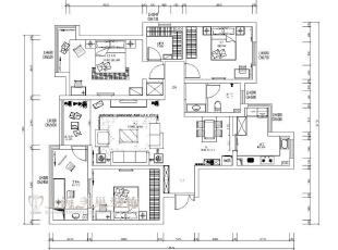 农大家属院装修案例户型图,140平,8万,中式,三居,