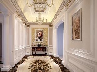 门厅采用洛可可风格的装饰,纤巧的曲线,华丽的装饰。以及路易十六式精炼典雅的平直表面,旨在追求自然舒展的心情,明快轻松的感受。营造轻盈优美,安逸舒适的家庭氛围。,500平,100万,清新,别墅,门厅,白色,
