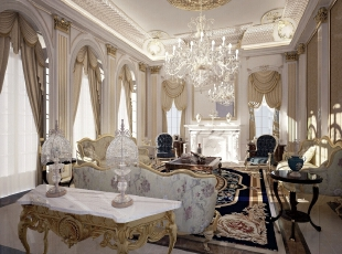 """客厅对别墅配饰进行了质的升级,陶瓷样式的沙发、顺滑的丝绸窗帘、绚烂多彩的手工编辑地毯,用陶瓷的淡雅、丝绸的飘逸、漆器的高古、园林的幽静,阐述着让人陶醉的洛可可里""""中国风""""。,500平,100万,清新,别墅,客厅,白色,"""