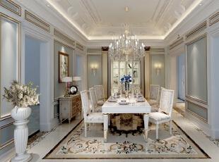 餐厅更多的体现了平面立面的曲线感,颜色清雅的桌椅,造型用材的轻量有质感,明黄、淡绿、浅蓝、粉紫,明丽柔和的色彩感,形成浓郁的浪漫情调。,500平,100万,清新,别墅,餐厅,白色,浅蓝,