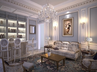 这是女儿自己的起居室,通过手绘壁布再现宋词里的旖旎春光和缱绻情感,细腻雅致。当女儿与朋友在这里娱乐玩耍时,私密而又放松,随手可取的红酒带来更多的闲适与激情,年轻本就应该如此。,500平,100万,清新,别墅,起居室,白色,淡紫色,