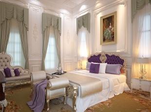 主卧室中更多的强调舒适。尚层装饰设计师利用丝绸作为卧室内的主要材质,顺滑且富含质感;布满卧室的暗绿色地毯呼应垂流而下的窗帘,彰显草地的清爽;配合着房间内繁复奢华的别墅配饰,卧室的主角床反而成为最简单朴实的配饰品,极繁而间。,500平,100万,清新,别墅,卧室,白色,暗绿色,