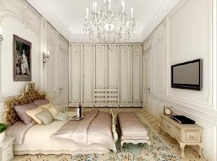 女儿的卧房是几个空间中设计最为简单的,摒弃了不需要的别墅配饰,只留下最具有实用性和功能性的床、衣柜,安静的环境、私密而细致。,500平,100万,清新,别墅,卧室,白色,