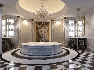 Spa间是为业主放松身心在准备的空间,整个SPA间简洁舒适,文艺复兴时期的绘画作品在黑白格的衬托下更显庄严神圣,置身SPA间,放空心情,放松身心,这样的别墅配饰设计怎能不吸引人?,500平,100万,清新,别墅,卫生间,白色,