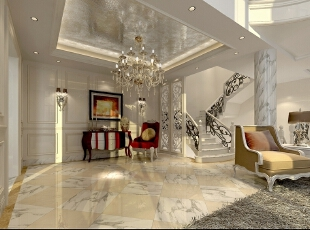 ,193平,50万,新古典,三居,客厅,黄白,