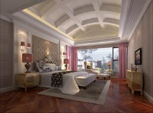 ,193平,50万,新古典,三居,卧室,白色,淡棕色,