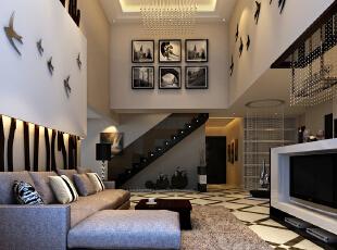 ,200平,38万,简约,别墅,客厅,黑白,