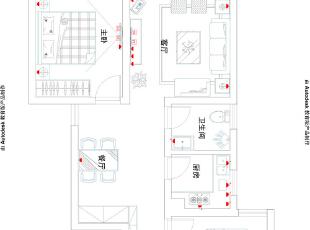 盛润锦绣城16#83平两室两厅美式装修效果图案例——户型平面图,83平,8万,美式,两居,