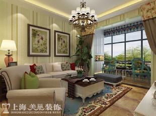 盛润锦绣城83平两室两厅美式乡村装修案例效果图——客厅布局,用现代美式的悠闲舒适来表现空间,让业主回到家之后能够完全的放松心情。,83平,8万,美式,两居,客厅,春色,