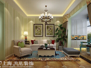 盛润锦绣城装修83平两室两厅美式乡村风格装修效果图--沙发墙,83平,8万,美式,两居,客厅,春色,