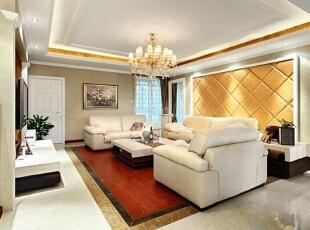 ,160平,25万,欧式,三居,客厅,黄色,白色,