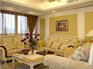 ,140平,15万,欧式,三居,客厅,黄白,