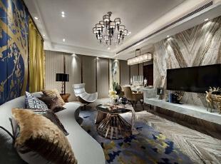,120平,20万,现代,三居,客厅,银白色,黄色,蓝色,