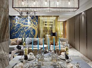 ,120平,20万,现代,三居,餐厅,银白色,黄色,