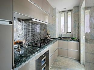 ,120平,20万,现代,三居,厨房,银白色,