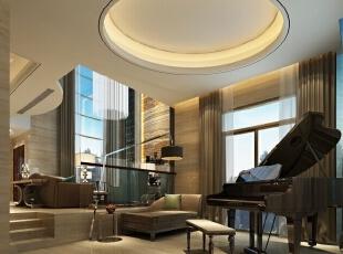 ,320平,180万,欧式,别墅,客厅,棕色,白色,